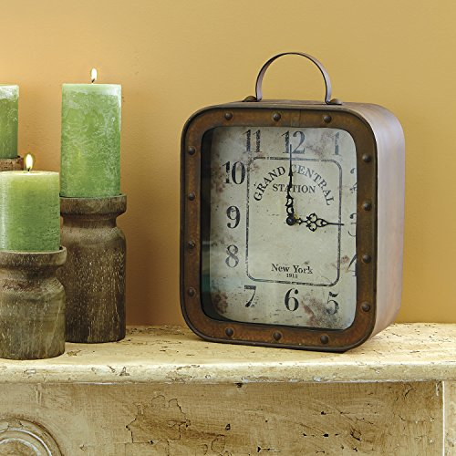 Stonebriar Large Square Rustic Metal Table Top Clock With