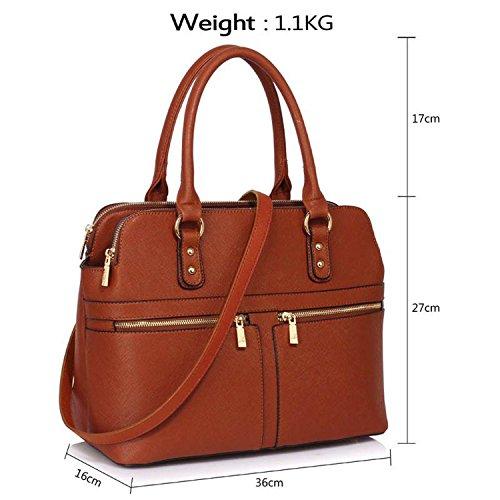 Xardi London Eva funda de piel sintética tamaño mediano Ladies bolso trabajo día agarre bolsas mujeres hombro bolsos Brown Style 2