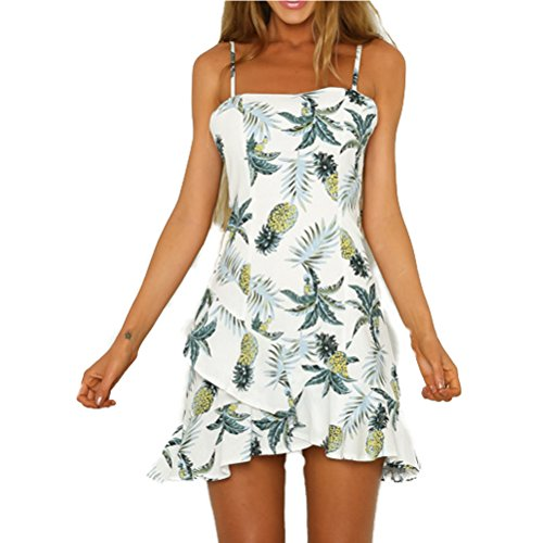 AISKLY Womens Summer Printed Flowy Loose Casual Strapless Midi Dress
