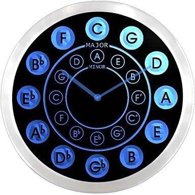 Watch nc0945 Círculo de quintas Partes Guitarra música neón señal LED Reloj de Pared, Color Rojo: Amazon.es: Relojes