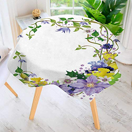 PRUNUS Round Premium Tablecloth for Wedding/Banquet/Restaurant-SPR Flowers a Bouquet for Design Anemones primroses Freesia Lilies Irises Vector Polyester Fabric Table Cloth 43.5