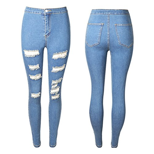 Stretchy Light Slim Cut Joli amp; Ladies Fit Denim Pants Hole Zhuhaitf Mode Womens Blue Skinny Jean Jeans Distressed Ripped wHTqPOpzn