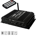 Mini Bluetooth Power Amplifier, FisherMo Wireless Streaming Digital Class D 4 Channel Hi-Fi Amplifiers Audio Stereo Music USB SD Player FM Radio Receiver for Cell Phone PC TV Car