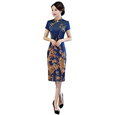 51d004ff2 Amazon.com: Shanghai Story Knee Length Cheongsam Floral Qipao Short Sleeve Chinese  Dress: Clothing