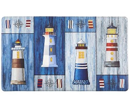 "Nautical Lighthouses Slip Resistant Cushioned Floor Mat 18""L x 30""W"