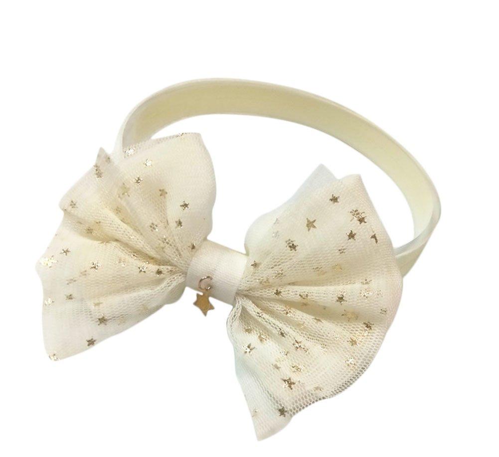 LAMEIDA Bandeau de Bow-noeud Petits Étoiles en Cotonnade pour Bébé Filles Bandeau Cheveux Accessoires de Fillette size 38cm (Rose)