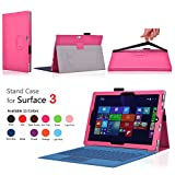 TNP Microsoft Surface 3 Case (Hot Pink) - Folio Synthetic Leather Smart Cover Stand with Auto Wake Sleep Feature and Stylus Holder for Microsoft Surface 3 10.8-Inch Windows Tablet