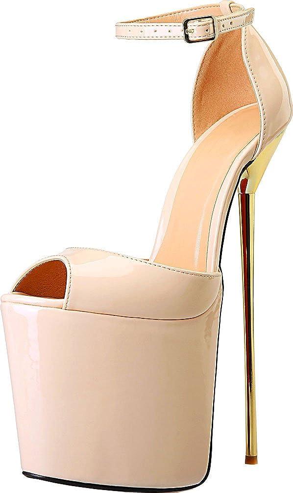 Nude Vimedea Womens Heeled Nightclub Cross Dressing Oversize Platform Peep Toe Sandals A14
