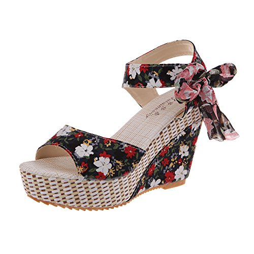 POHOK Bohemian Flower Fish Mouth Word with Ribbon Front Laced Wedges Muffin Thick Bottom Sandals(37,Black) ()