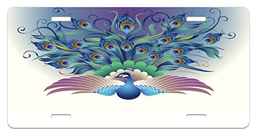 Peacock License Plate by Lunarable, Ornate Peacock with Majestic Tail Feather Dangling Around Birds Wing Illustration, High Gloss Aluminum Novelty Plate, 5.88 L X 11.88 W Inches, Multicolor (Majestic Birds Plate)