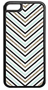 Black, Light Blue and Gold Glitter -Look Thin Chevrons- Case for the APPLE IPHONE 4, 4s-Hard Black Plastic Outer Case with Tough Black Rubber Lining