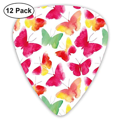 Guitar Picks 12-Pack,Watercolor Butterflies With Large Colored Wings Spirit Animal Paint