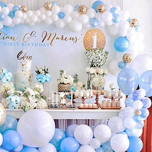 PartyWoo Blue and White Balloons 70 pcs 12 Inch Sky Blue Balloons Baby Blue Balloons White Balloons Gold Confetti Balloons Boy Baby Shower Decorations for Blue Baby Shower, Boy Birthday, Toddler Party ()