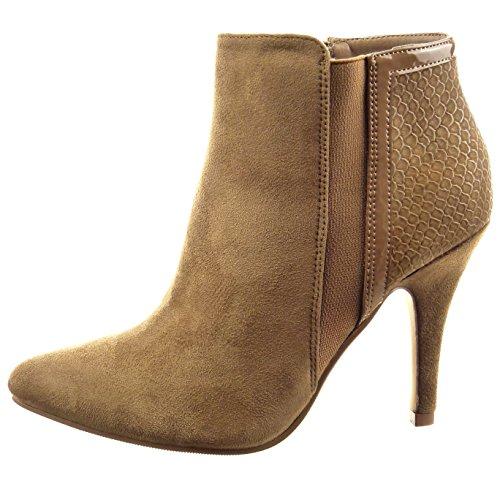 Sopily - Chaussure Mode Bottine Chelsea Boots Cheville femmes Peau de serpent Talon aiguille 9.5 CM - Khaki