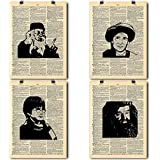 Harry Potter Art Prints - Quad (4) Pack - Harry | Dumbledore | Quirrell | Hagrid - Vintage Dictionary Print Home Vintage Art Abstract Prints Wall Art for Home Decor Wall Decorations