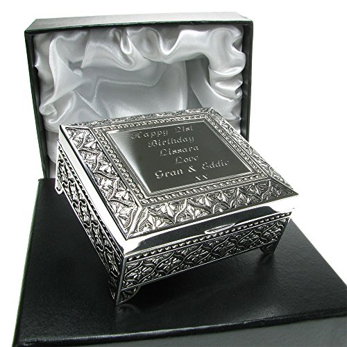 Girls 21st Birthday Gift Silver Plated Trinket Box In A Satin Lined Presentation Idea Amazoncouk
