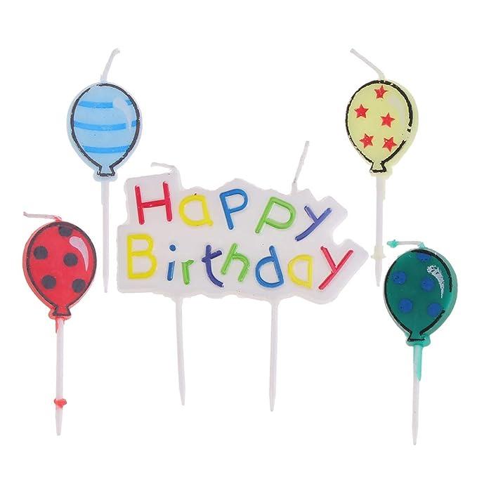 Amosfun 6 unids Cartas Feliz Cumpleaños Globos Velas Pastel ...