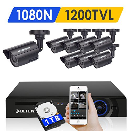 DEFEWAY 8 Outdoor 720P HD 1200TVL Home Security - 8 Channel Security Cameras