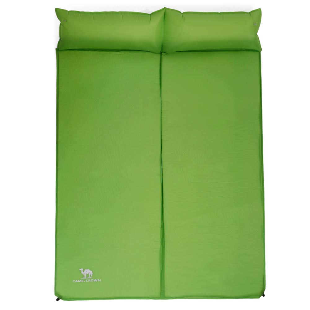 CAMELSPORTS Lightweight Double Self-Inflating Sleeping Pad with Attached Pillow Great for 2 Person Camping, Hiking, Backpacking,Beach (Green) by CAMELSPORTS