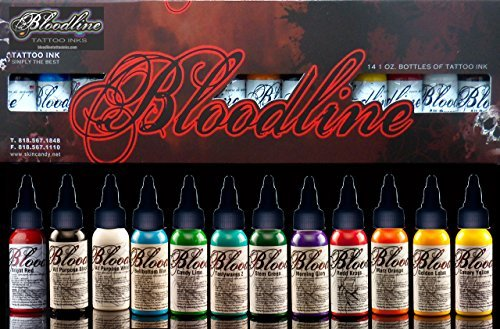 14 COLOR BOX SET BLOODLINE TATTOO INK 1 OZ BOTTLES