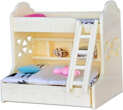 Amazon Com Fenteer 1 12 Dollhouse Miniature Children Bedroom Furniture Bunk Bed Double Bunk With Accessories White Color Toys Games