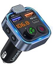 [Versão 2021] LENCENT Transmissor FM Bluetooth 5.0, Reprodutor de Música Viva-voz para Carro, Som Hi-Fi de Grave Intenso Deep Bass, Adaptador de Rádio Bluetooth 2 USB + Tipo C Carregamento Rápido 20W, Suporta Pendrive Disco U