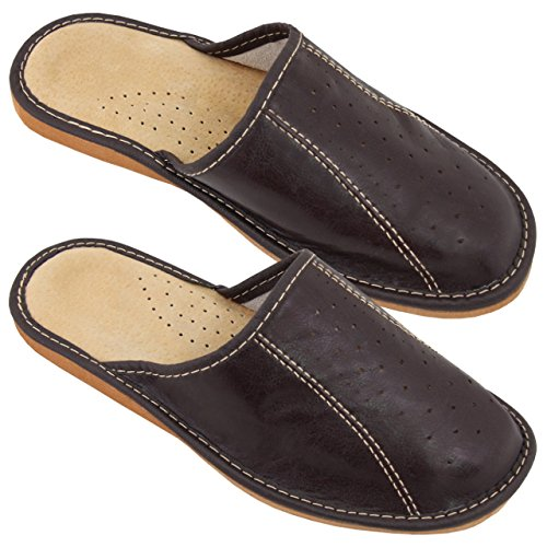 Hausschuhe Herren Echtleder Pantoffeln Latschen Leder Dunkelbraun Größe 47 NEU