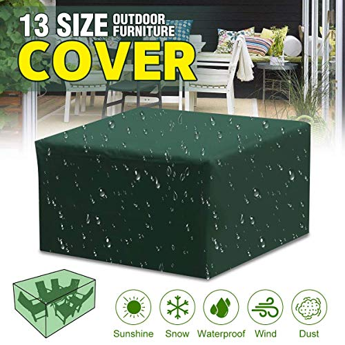 (ESSORT Patio Cover, Multi-Size Outdoor Sectional Furniture Set Cover, Table Chair Seat Lounge Porch Sofa Covers, Waterproof Dust-Proof Garden Furniture Protective Cover, Green)