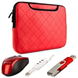 VanGoddy Gummy Laptop Sleeve for Fujitsu 14 to 15.6 inch Laptops with USB Mouse & 4GB Thumbdrive & 3 Port USB Hub, Bright Red