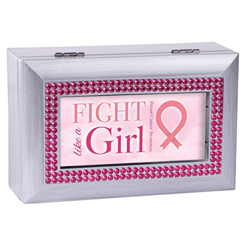 Cottage Garden Breast Cancer Pink Ribbon Silver Tone Bead Inlay Petite Music Box Plays Wonderful ()