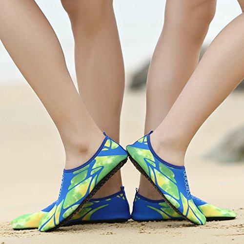 Z.suo Hommes Femmes Et Enfants Mutifunctional Pieds Nus Chaussures Chaussures De Leau À Séchage Rapide Léger Aqua Chaussettes Pour Plage Piscine Surf Yoga Exercice Bleu