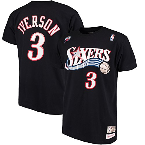 Philadelphia 76ers Allen Iverson Mitchell & Ness HWC Retro Name And Number Tee (X-Large) (Throwback Jersey T-shirt)