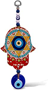 Hamsa Hand Wall Hanging With Good Luck Blue Evil Eye Charm and Jewish Star of David for Home, Housewarming Gift, Office, Bedrooms and House Decor Orange Coloring Easy to Hang Up No Tools