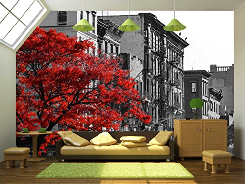 wall26 - Red Fall Tree in Black and White Nyc Street Scene on 2nd Avenue in the East Village of Manhattan, New York City - Removable Wall Mural | Self-adhesive - Manhattan Village