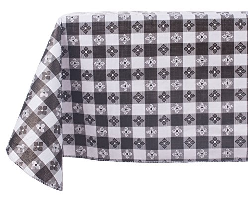 Yourtablecloth Checkered Vinyl Tablecloth with Flannel Backing for Restaurants, Picnics, Bistros, Indoor and Outdoor Dining (Black and White, 52X90 -