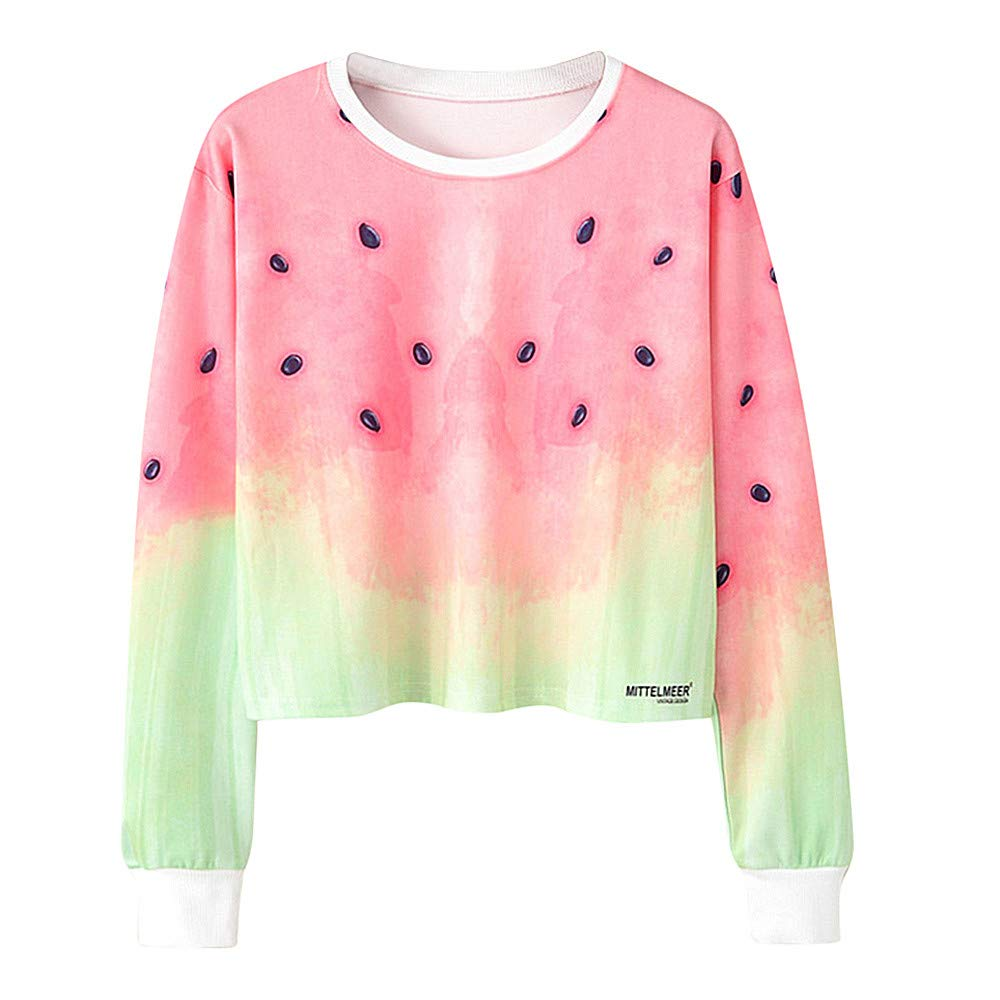 Simayixx Sweatshirts for Women Women Loose Pullover Watermelon Print Jumper Girls Plus Size Sweatshirt Pink