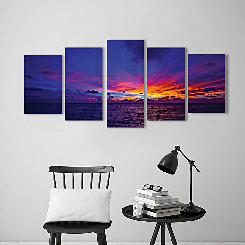 Pacific Northern Flat Car - Five Pieces Wulian Painting Living Room Decoration Frameless eDream Sunin Ocean Northern Lights yd Pacific Sea Atmosphere for Living Room Office Decor Gift