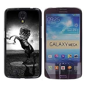 Qstar Arte & diseño plástico duro Fundas Cover Cubre Hard Case Cover para Samsung Galaxy Mega 6.3 / I9200 / SGH-i527 ( Horse Black White Mustang Powerful Sun)