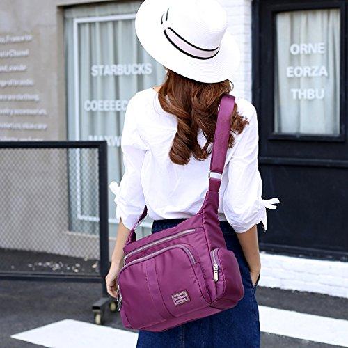 Zipper Multi Crossbody Bag Nylon Sornean Pockets Waterproof Purple Handbag Messenger Pocket Shoulder Bag AaSv161YW