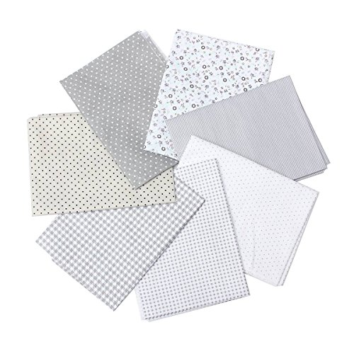 KINGSO 7PCS Cotton Fabric Bundles Quilting Sewing DIY Craft 17.7x17.7inch Gray