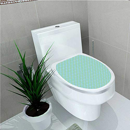 - aolankaili Toilet Seat Sticker Vintage Pattern with Yellow Spring Flowers Classical Tile Design Sky Blue Yellow White W8 x L11