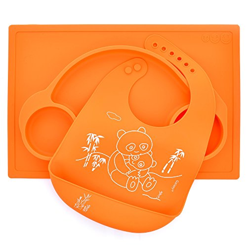 Set Silicone Car Placemat and Matching Mommy and Baby Panda Bib Kids Babies Toddlers Meal Plate (Orange)