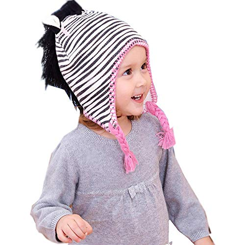 YOBEBE Baby Girls Winter Knit Hat Earflap Cap 1-6T Kids (Zebra Stripes, 3T-6T)