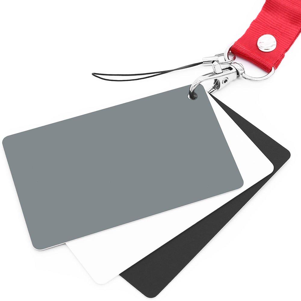 Anwenk Carta grigia Carta di bilanciamento del bianco Carta fotografica con esposizione del 18% Calibrazione personalizzata Fotocamera Video, DSLR e pellicola GreyCard-S