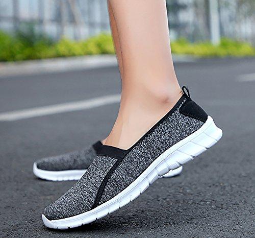 Schuhe Flache Canvas Slip Damen On Dunkelgrau ODEMA Atmungsaktive Sneakers 7Yv1Xq