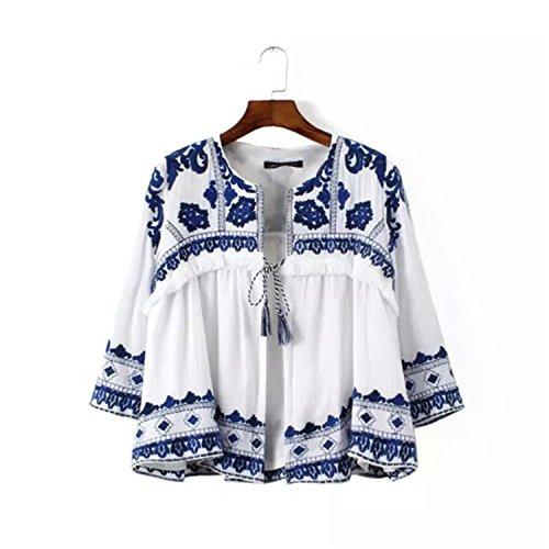 Christian Mayn Soft Retro Loose Cardigan Shirt Ethnic Style Embroidery Tassel Coat...