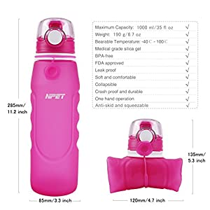 NPET 1000mL/35oz. Collapsible Water Bottle, Silica Gel Medical Grade, Leak Proof Silicone Foldable Sports Water Bottle, Free with Silicone Wash Gargle Cup and Carabiner, for Sports, Outdoor Violet