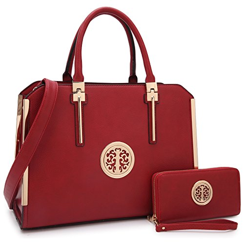 Designer Women Laptop Briefcase, Large Handbag for Lady PU Leather Satchel Lightweight Tote Summer Cross-Body Purse (XL-7555-W-BD)