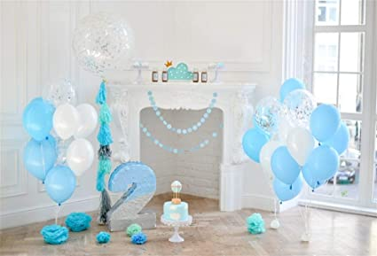 OFILA Baby Boys 2nd Birthday Decoration Backdrop 7x5ft Children Background Colored Balloons