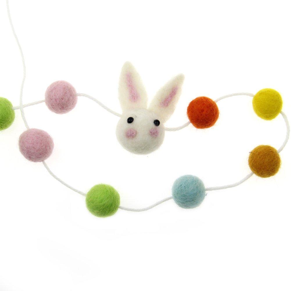 Zasy Felt Ball Garland Needle Felt Cartoon Animal Garland Wool Pom Pom Children Christmas Party Hanging Decoration (Bunny)